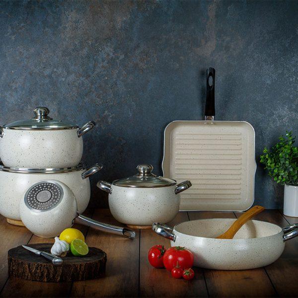 سرویس پخت و پز 9 پارچه عروس مدل دیپلمات کد 300